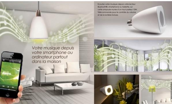 Avec le modèle « Ampoule LED Haut parleur Awox Striimlight » écoutez de la musique tout en vous éclairant !